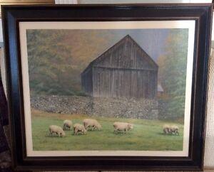 Beautiful-Framed-LE-Canvas-Litho-034-Bethel-Mountain-Sheep-Farm-034-Mike-Mayone-Signed