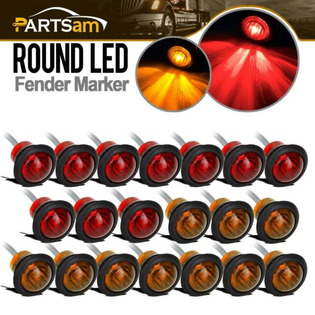 20x 3  4 U0026quot  Round Red    Amber 12v Clearance Marker Light