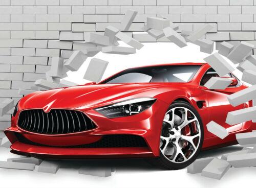 3d voiture mur mur de briques XXL pression Nappes Papier Peint-Abstrait Design 2139 V