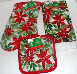 HOLIDAY POINSETTIA CHRISTMAS BAKING 4 PC SET KITCHEN TOWEL OVEN MITT POTHOLDERS