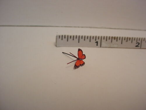 Terry Harville Dollhouse Miniature Purple Eyed Rust Butterfly Handcrafted