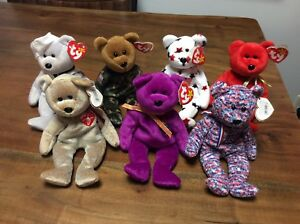 RARE BEANIE BABIES LOT OF 7 RONNIE,1999 SIGNATURE,MILLENIUM,OSITO,USA,HERO,GLOR