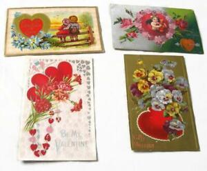 4-Antique-Valentine-Postcards-Conwell-Bergman-Cupid-Pansies-Carnations