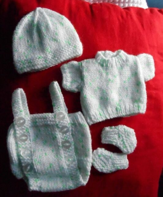 """Doll Clothes White-Mint hand knitted set for baby 12"""" 14"""" fit Am. Character 12"""