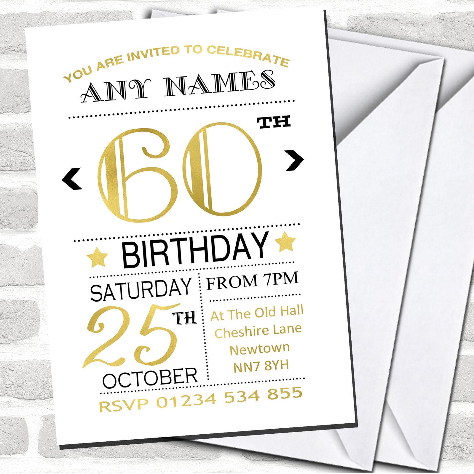 blancoo Negro Y Dorado 60th Invitaciones de Fiesta de Cumpleaños