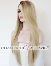 Straight Synthetic Hair Lace Front Wig Ombre Blonde Heat Ok Glueless Full Wig 24