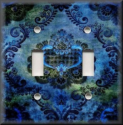 Light Switch Plate Cover - Bohemian Gypsy Damask - Home Decor - Blue