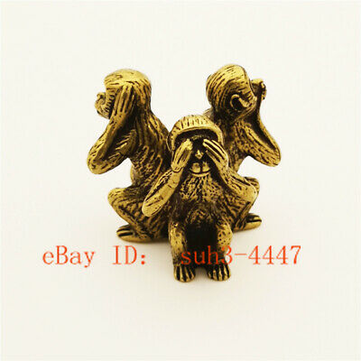 Chinese Hand Engraving Exquisite Copper Brass Monkey Small Statue Ornament