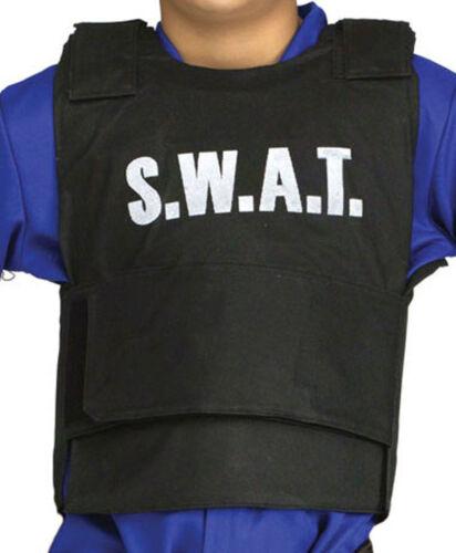 KIDS CHILDREN/'S  SWAT TEAM VEST /& HAT SET POLICE FBI MILITARY STYLE FANCY DRESS