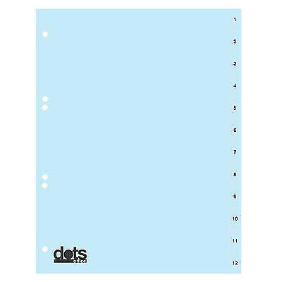 5 blaue dots Register Vollformat A4 Karton Registereinlagen Zahlenregister 1-12