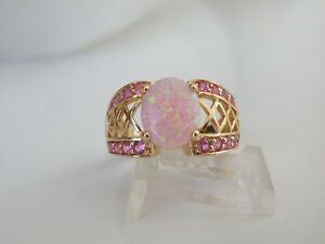 Estate-18K-Yellow-Gold-Sterling-Silver-Pink-Opal-Tourmaline-Unique-Ring-Size-8