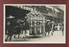 Hong Kong ? China c1930s RP PPC decorated BRIDAL SEDAN CHAIR passing Curry Shop
