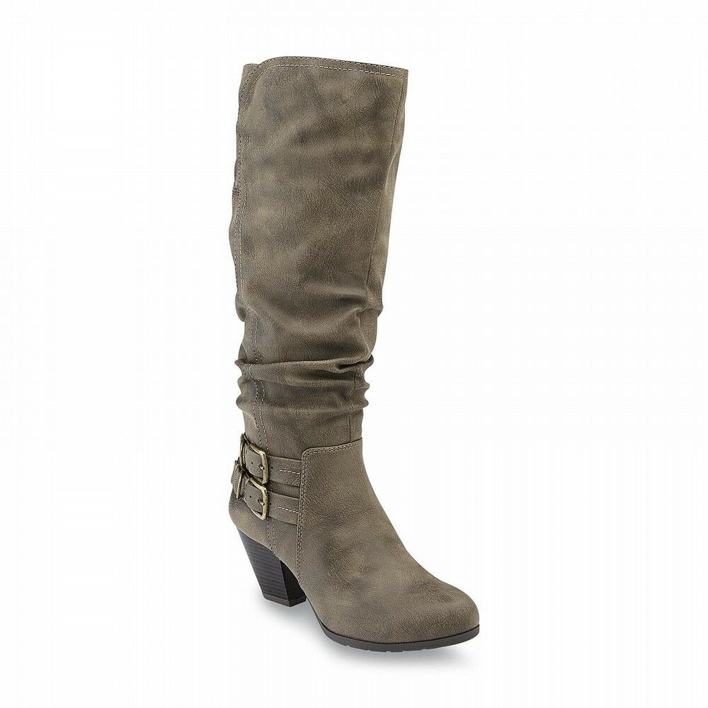 Jaclyn Smith Women's Exton Taupe Slouch Knee High Fashion Boots