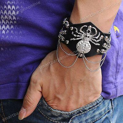 NEU! PUNK EMO Spinne Tiere Chain Lederarmband PU Armbänder EMO ROCK MESTALL