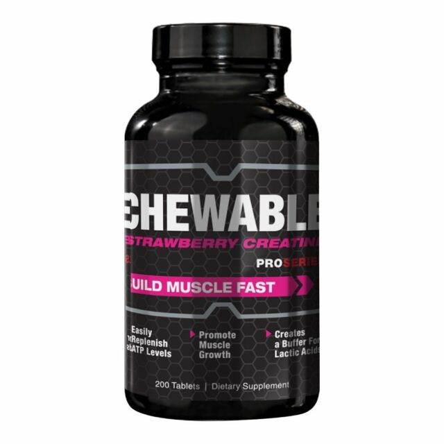 ProSeries Strong Chewable Strawberry Creatine Muscle Growth Supplement 200tab