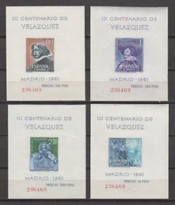 SPAIN-1961-MNH-COMPLETE-SET-SC-SCOTT-983a-86a-VELAZQUEZ-PAINTINGS-SHEETS
