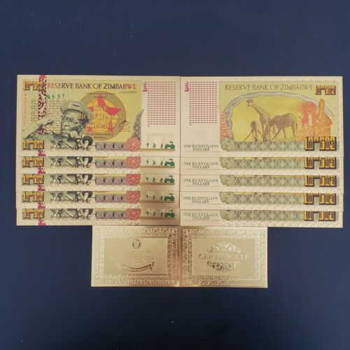 RHCN 10 Zimbabwe Bicentillion Dollars Gold Foil Note Collect Items Certificate