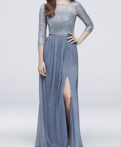 Details About 3 4 Sleeve Metallic Davids Bridal Bridesmaid Dress Size 14