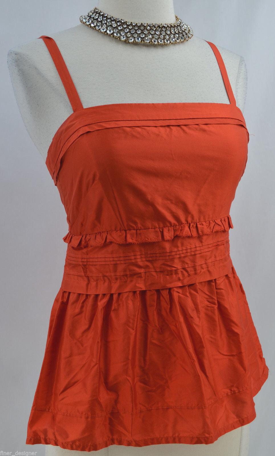J J. Crew 100% silk cami ruffle Top Blouse shirt orange adj strap SIZE 0 S NEW