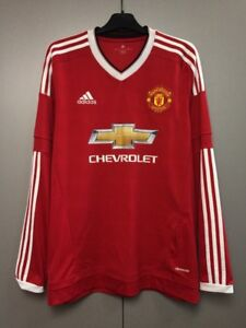 low priced 870da a4f9a Details about Manchester United 2015-2016 Home Football Soccer Adidas Long  Sleeve Shirt Jersey