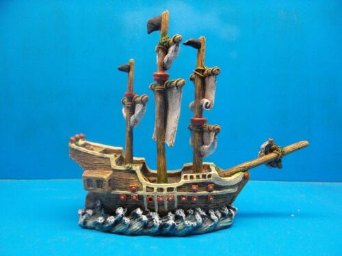 SAILING WAR SHIP EB072 AQUARIUM RESIN FISH TANK DECOR HAND PAINTED BEAUTIFUL !!