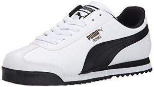 PUMA Men s Roma Basic Fashion Sneaker, White Black Leather   eBay 6eab4f001d