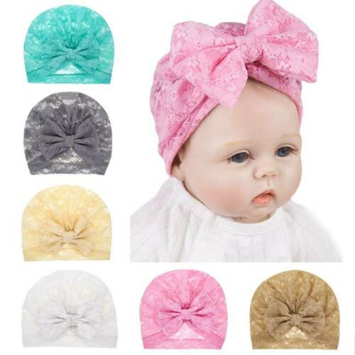 @qin Newborn Baby Kids Boy Girl Knotted Lace Bow Beanie Headwear Cap SALE