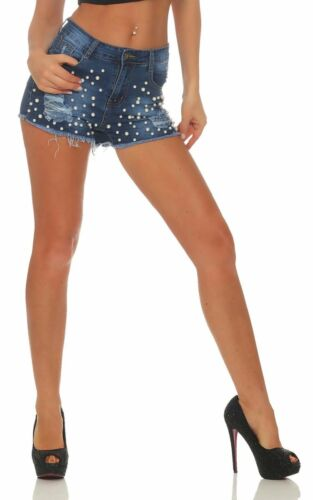 5534 Damen Jeans Hotpants Denim Shorts kurze Hose Hot Pants Jeans Fransen Perlen