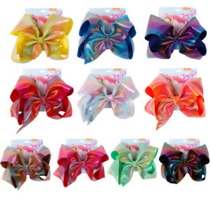 6-034-Rainbow-Printed-Hair-bow-Knotted-Bow-With-Alligator-Clip-Headwear-For-Girls