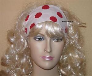 Haarband weiß große rote Punkte