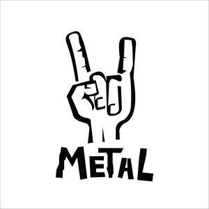 6 metal hand vinyl decal sticker car window laptop music rock n