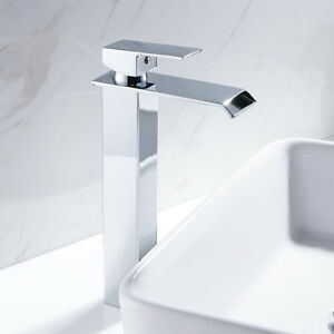 Image Is Loading Modern Tall Bathroom Taps Waterfall Basin Mixer Chrome