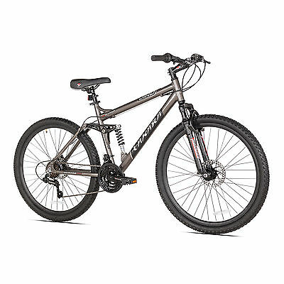 "Takara Jiro Dual-Suspension Disc Brake 21-Speed 27.5"" Tire Mountain Bike, Gray"