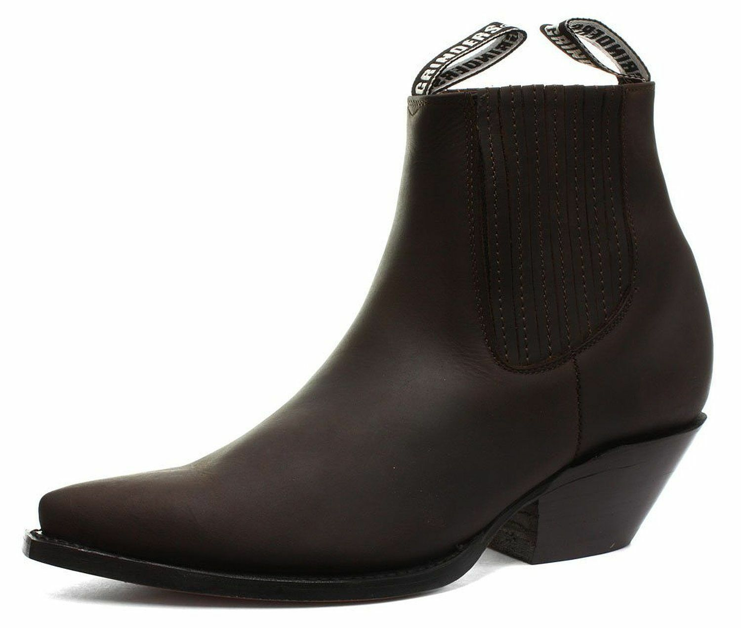 GRINDERS Mustang Brown Unisex Leather Cowboy Slip On Cuban Heel Classic Boots