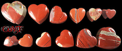 "Pair 2g-5/8"" Red Jasper Carved Heart Double Flare Ear Plugs Organic Stone Gauges"