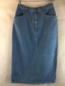 AVERROE-Blue-Denim-Jean-Skirt-Size-10-Mid-Calf-Length-Cotton-Waist-26-034