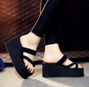 New-Womens-Platform-Wedge-Heel-Flip-Flops-Platform-Mules-Slippers-Shoes-Sandals
