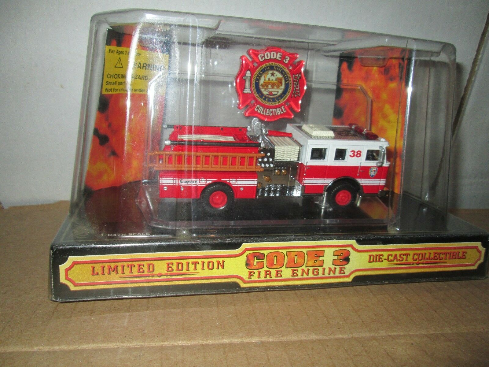 City Of Houston Code 3 Seagrave Pumper 1 64 Fire Dept Unité 38  02451 Camion