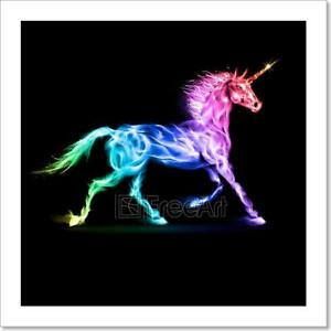 Image Is Loading Colorful Fire Unicorn Art Print Home Decor Wall