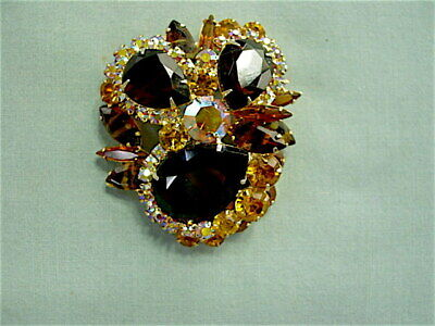 Vintage Amber Brown Juliana Brooch Vintage Rhinestone Brooch,Amber /& Chocolate Brown Brooch Vintage Pin Juliana Brooch,Delizza and Elster
