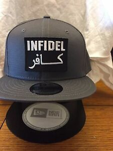 a3e535d9e19a9 New Era NE400 Charcoal Flat Brim Snapback Hat Cap W  ARABIC INFIDEL ...