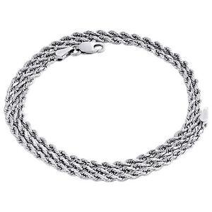 14k or Blanc Diamant Coupe Corde Chaîne Bracelet De Cheville