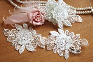 Stickereien-Hochzeit-Motiv-Braut-Spitze-Applikation-Blumenmuster-Naturweiss