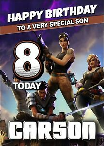 FORTNITE-Personalised-Birthday-Card-A5-Fortnight-Gamer-Online-Battle-Game-MMO