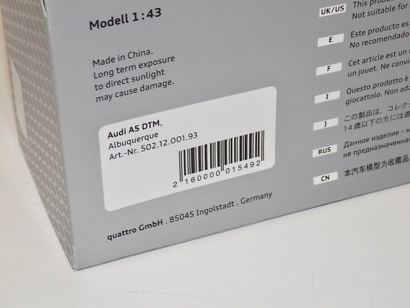 1 43 Minichamps Minichamps Minichamps AUDI A5 DTM F. Albuquerque desde 2012 coche  22 edición del distribuidor 2f8902