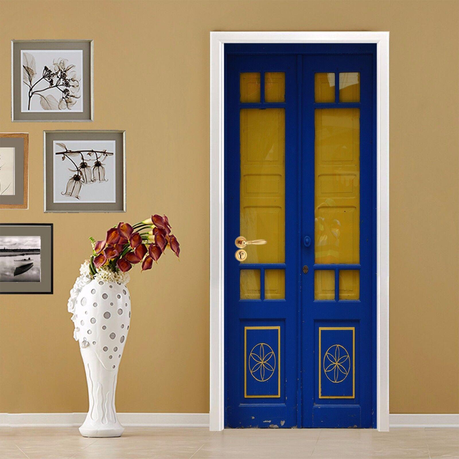 3D Muster Blau 407 Tür Mauer Wandgemälde Foto Wandaufkleber AJ WALL DE Lemon