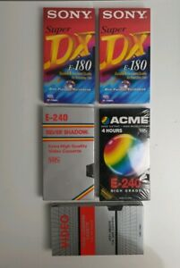 VHS-X-2-Blank-Tapes-SONY-Super-180-1-x-Acme-240-1x-Silver-240-Plus-Head-Cleaner