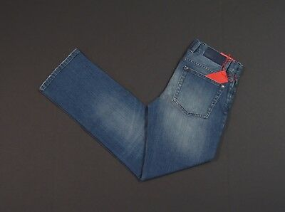 ACHT Blue Cotton Regular Straight Fit Jeans