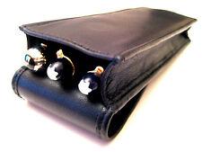 Black Napa Leather Triple Magnetic Flap Pen Case/Pouch