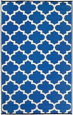Contemporary -Recycled Plastic- Rectangle Rug: Tangier - Regatta Blue & White